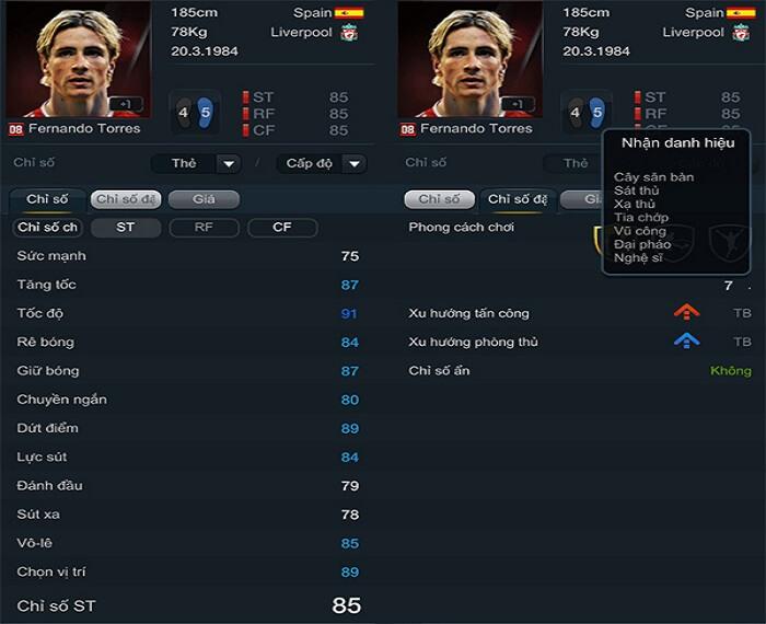 Fernando Torres - Tốc độ 91/ tăng tốc 87
